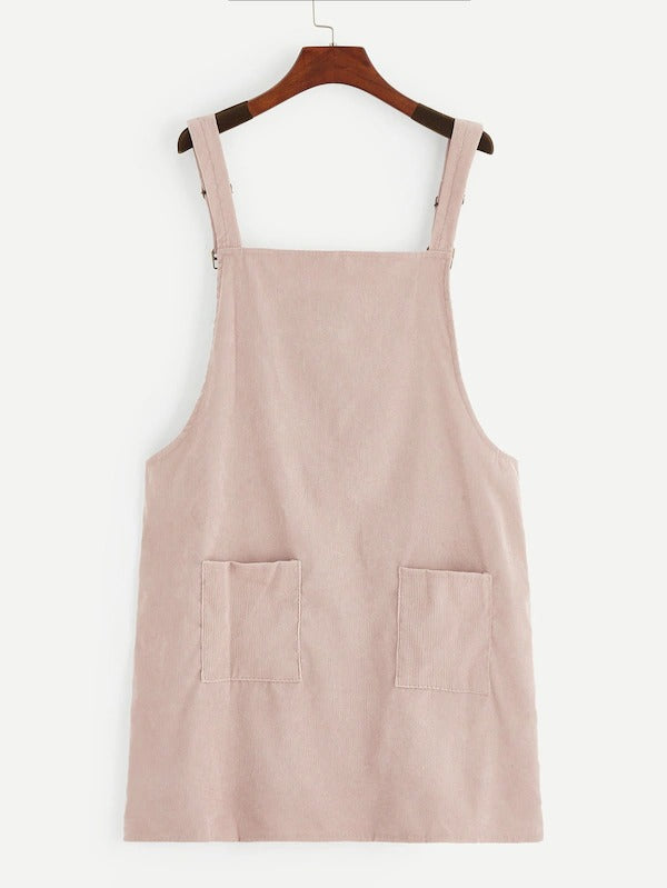 Plus Pocket Front Corduroy Pinafore Dress