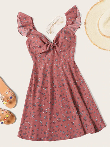 Plus Ruffle Trim Knot Front Ditsy Floral Dress