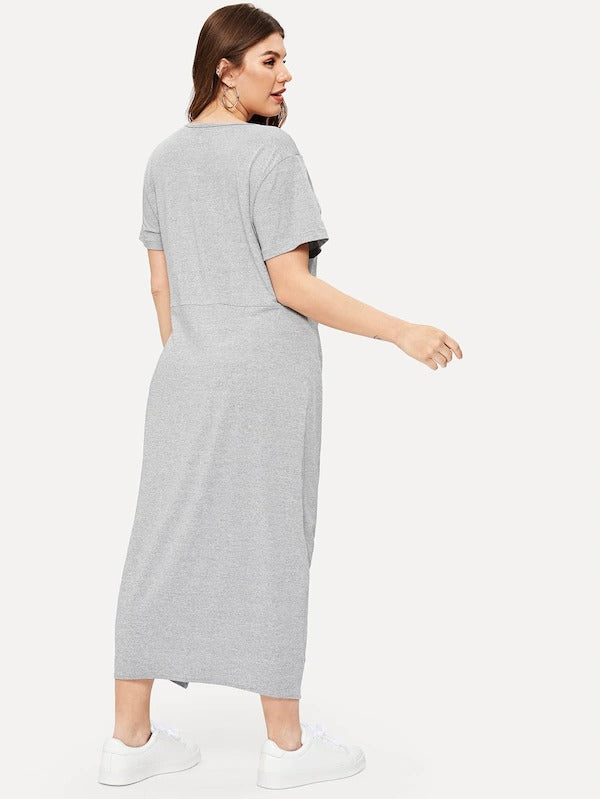 Plus Solid Twist Hem V-Neck Dress