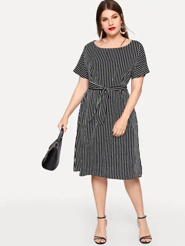 Plus Striped Self Tie Waist Dress