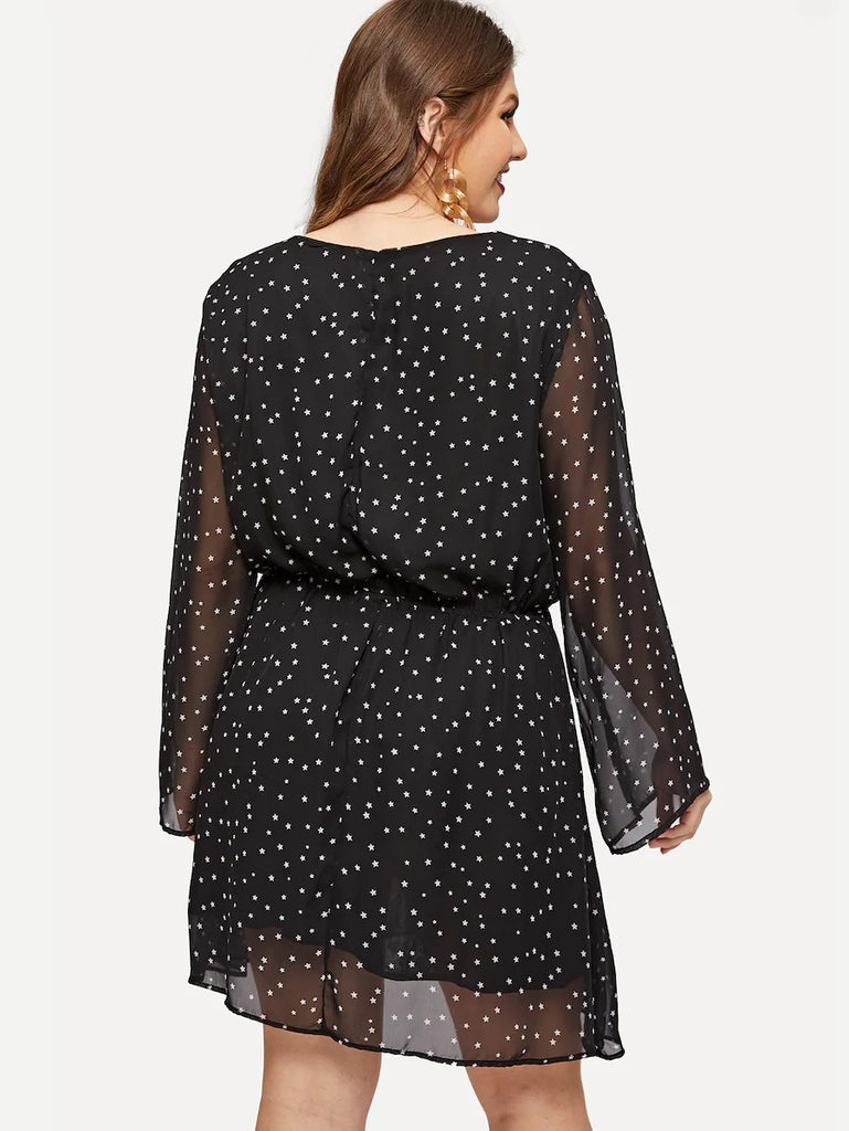 Plus Surplice Neck Sheer Bell Sleeve Star Dress