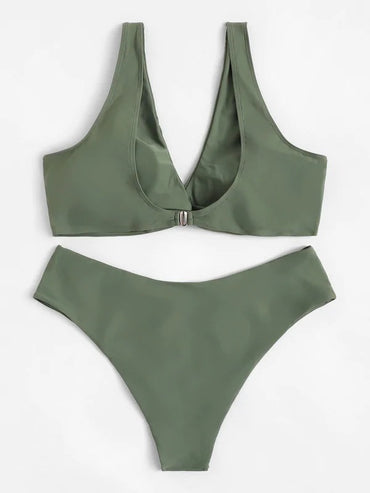 Plus Twist Front Top With High Waist Bikini