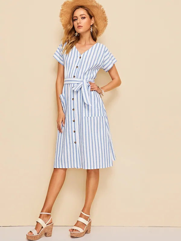 Pocket Front Button Up Striped Belted Dress