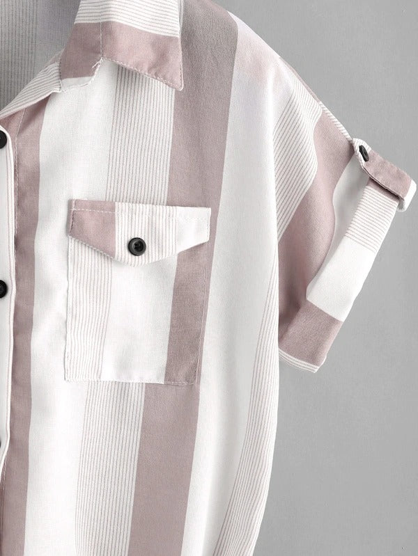 Pocket Patch Knot Front Striped Shirt