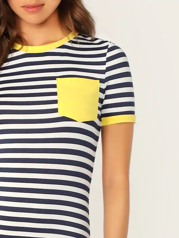 Pocket Patched Striped Ringer Tee Dress