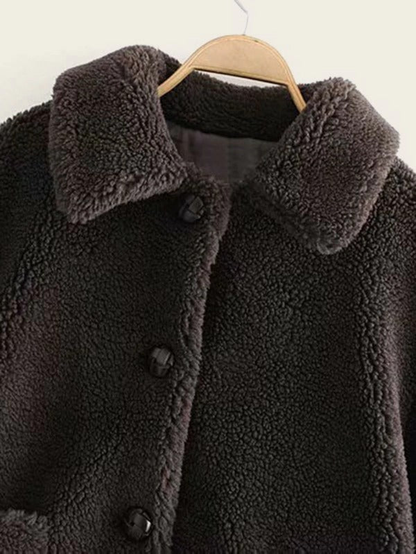 Pocket Front Solid Teddy Coat