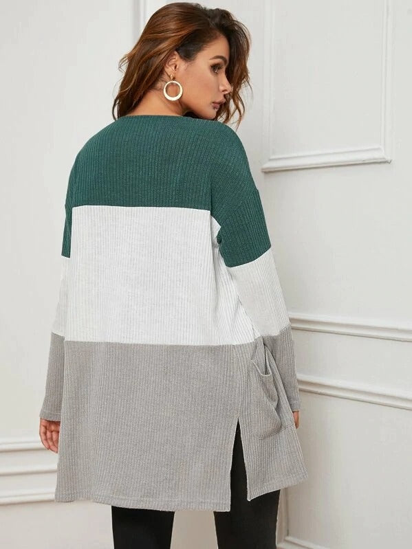 Pocket Front Split Side Cut-And-Sew Rib-Knit Coat