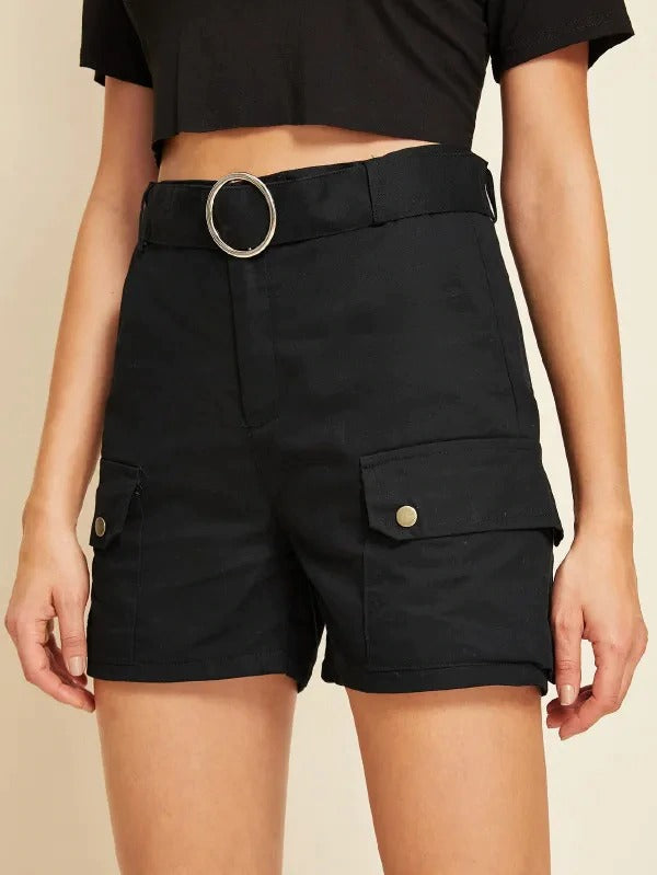 Pocket Side Belted Cargo Shorts