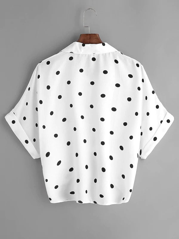 Polka Dot Knot Front Cuffed Blouse