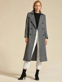 Premium Notch Collar Double Breasted Houndstooth Coat
