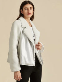 Premium Notched Collar Faux Shearling Jacket