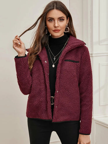 Press Button Contrast Binding Teddy Jacket