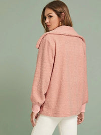 Rib-Knit Cuff Open Front Teddy Coat