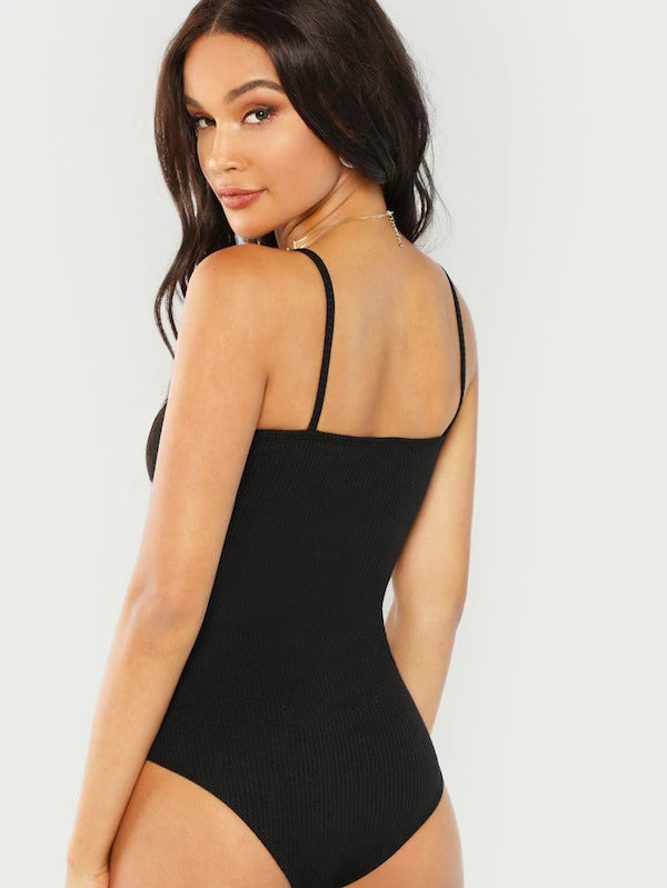 Ribbed Knit Solid Cami Bodysuits