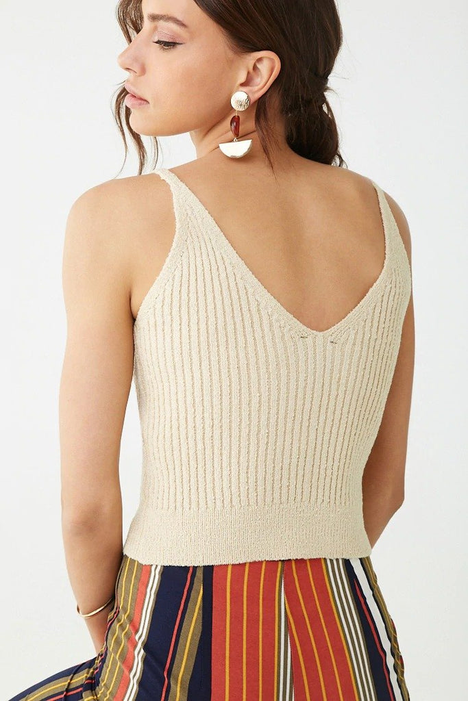 Ribbed Button-Front Cami