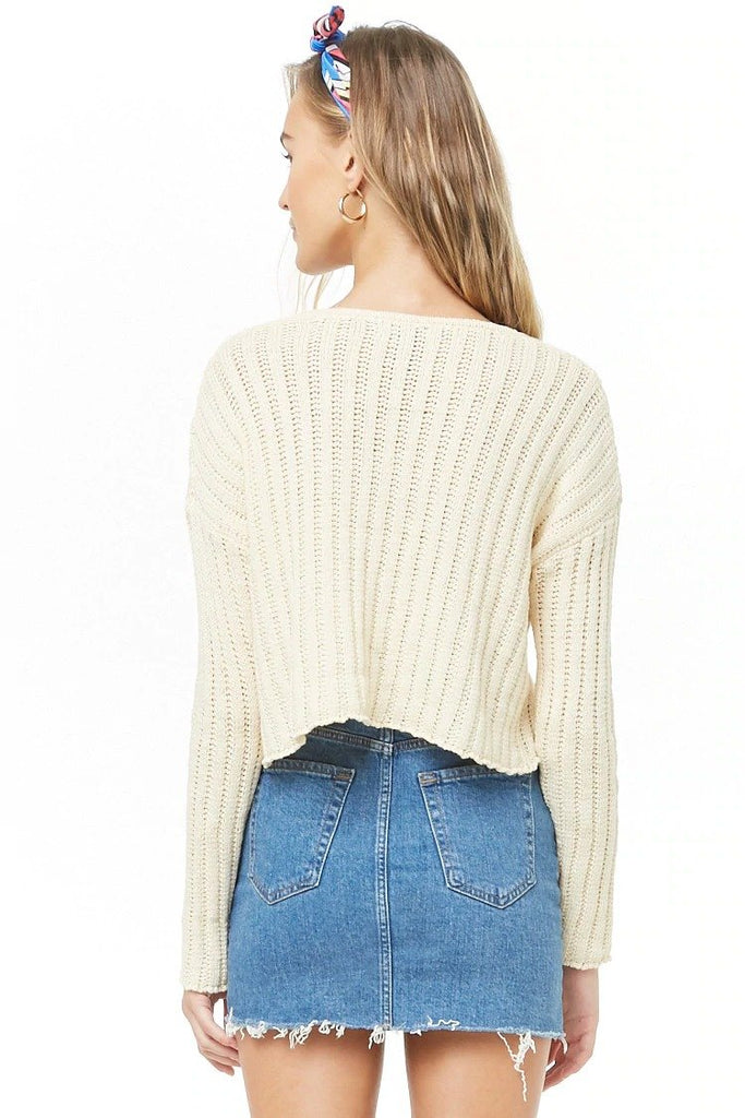 Ribbed Off-the-Shoulder Cropped Sweater