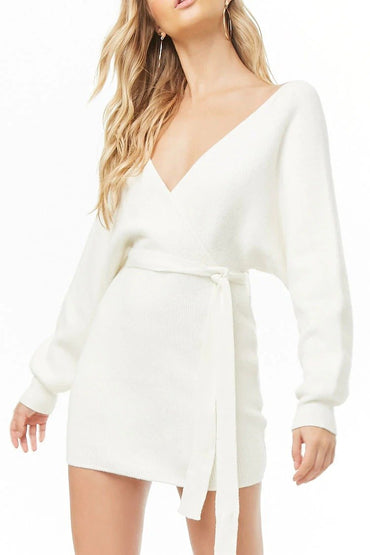 Ribbed Surplice Mini Dress