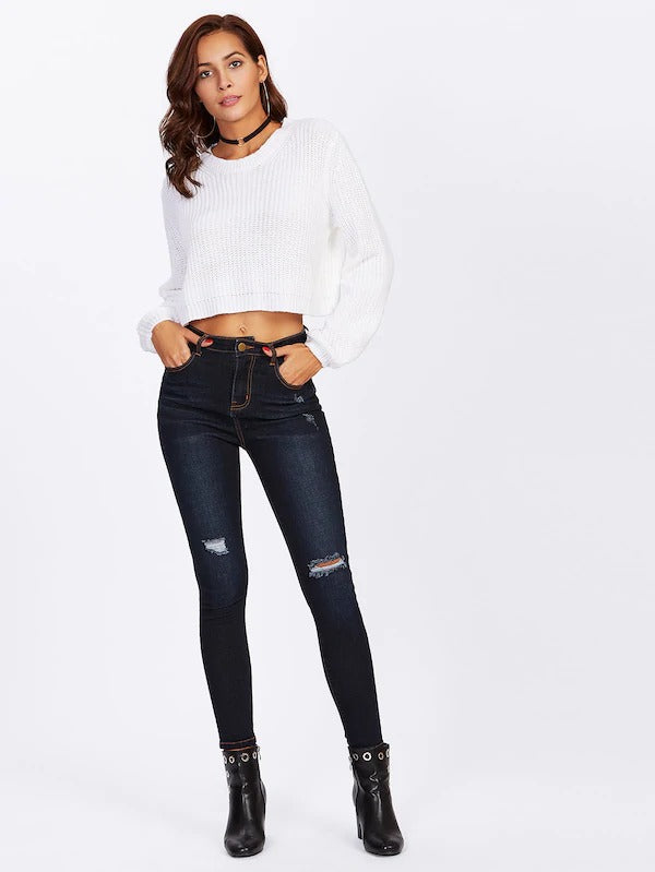Ripped Detail Dark Wash Jeans