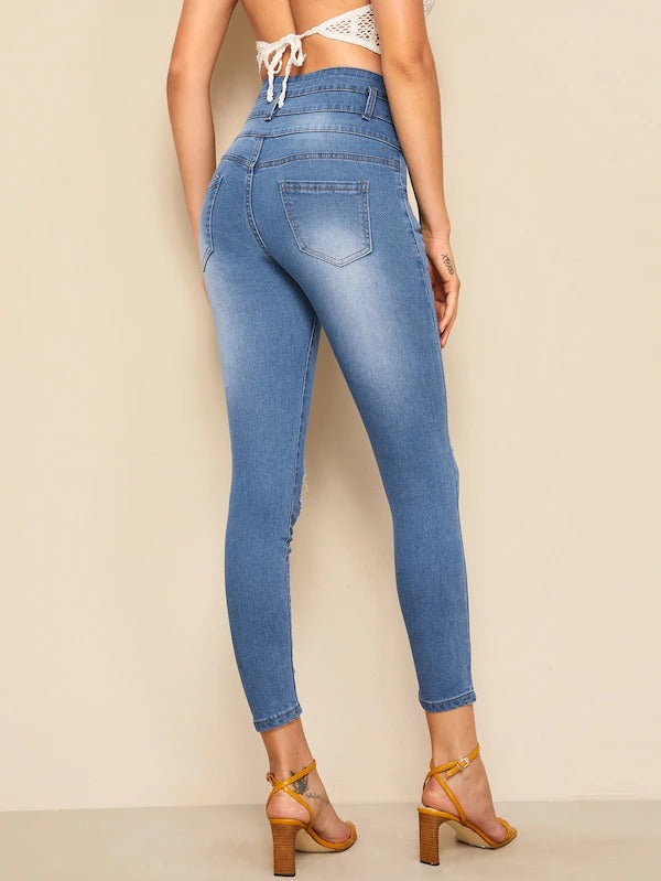 Ripped Faded Wash Button Fly Jeggings