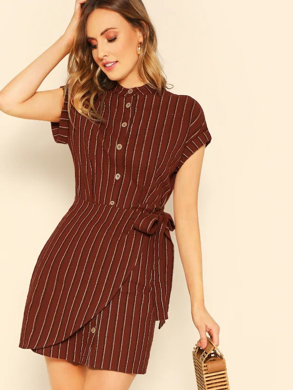 Rolled Sleeve Button Through Wrap Striped Dress
