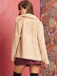 SBetro O-Ring Zip Up Faux Fur Coat