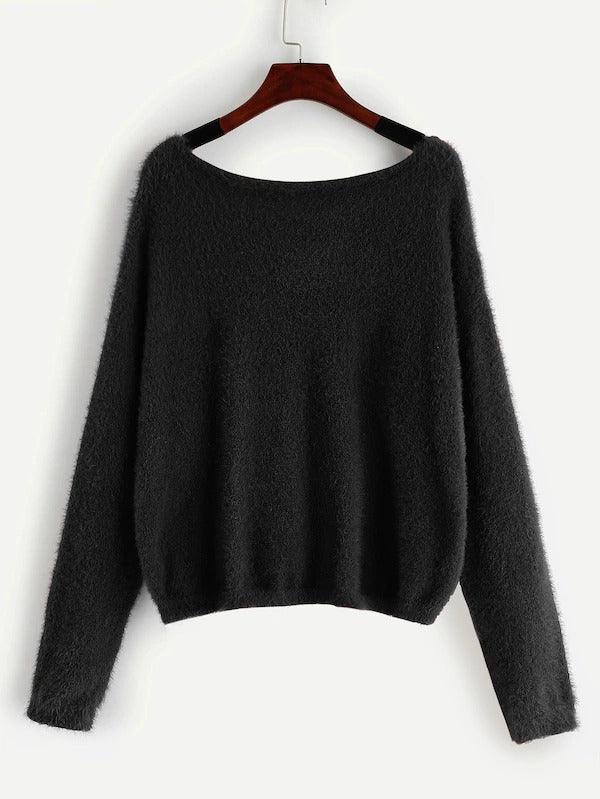 Round Neck Solid Fuzzy Jumper