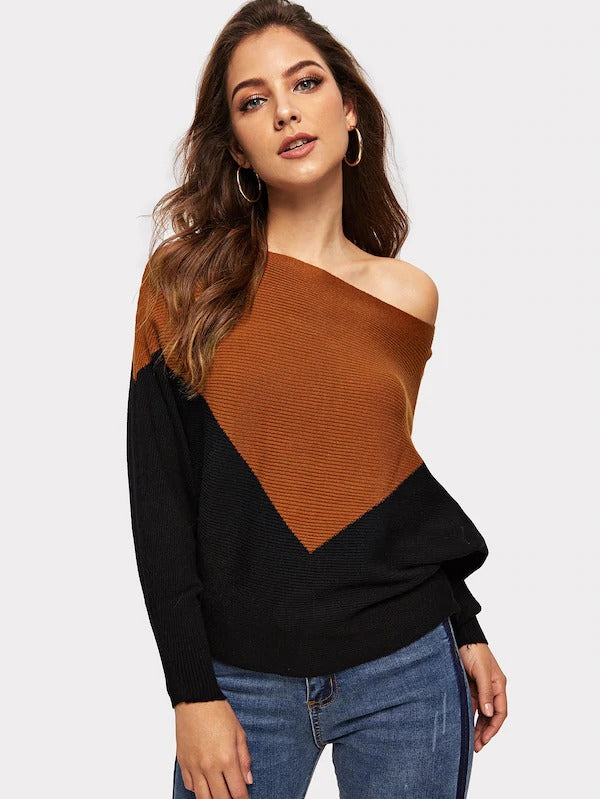Two-Tone Batwing Sleeve Sweater