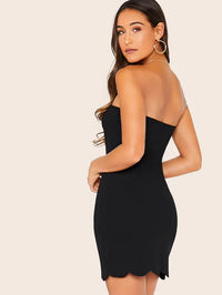 Scallop Edge Tube Dress