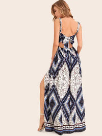 Scarf Print Tie Back Split Thigh Slip Dress