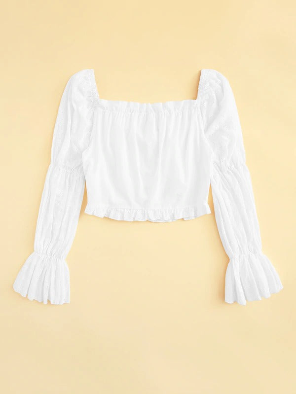 Schiffy Eyelet Lace Up Crop Top