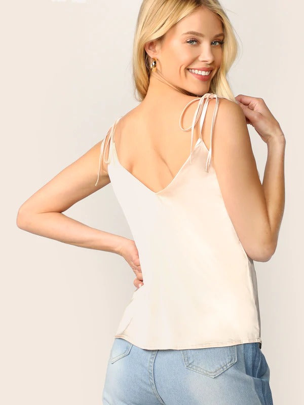 Self Tie Shoulder Satin Top