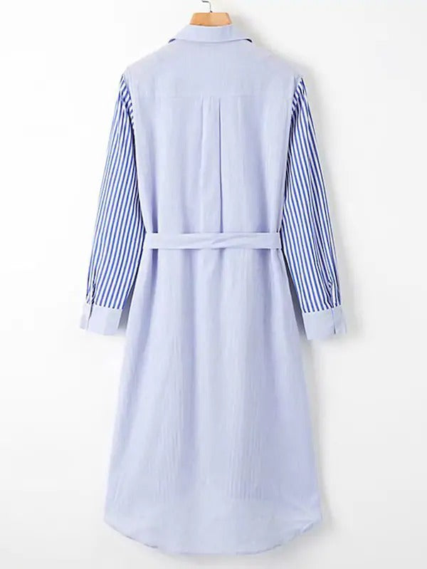 Self Tie Stripe High Low Shirt Dress