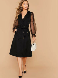Sheer Mesh Sleeve Single Breasted Wrap Belted Coat