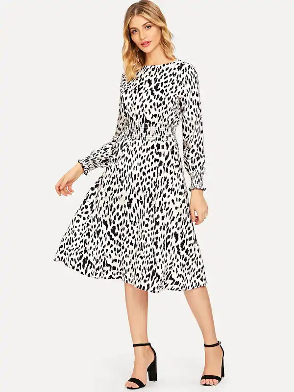 Shirred Waist Leopard Dress