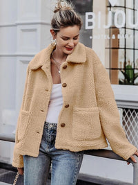 Simplee Button Front Pocket Teddy Coat