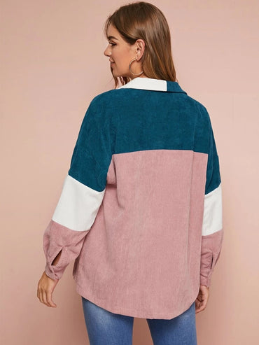 Single Breasted Colorblock Cord Coat Without Bag