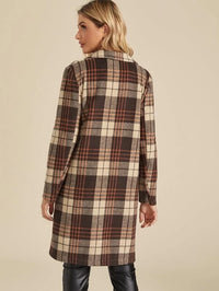 Single Button Double Pocket Tartan Coat
