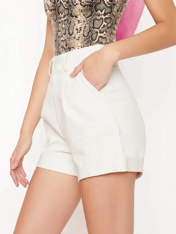Slant Pocket Rolled Hem Cord Shorts Without Belt