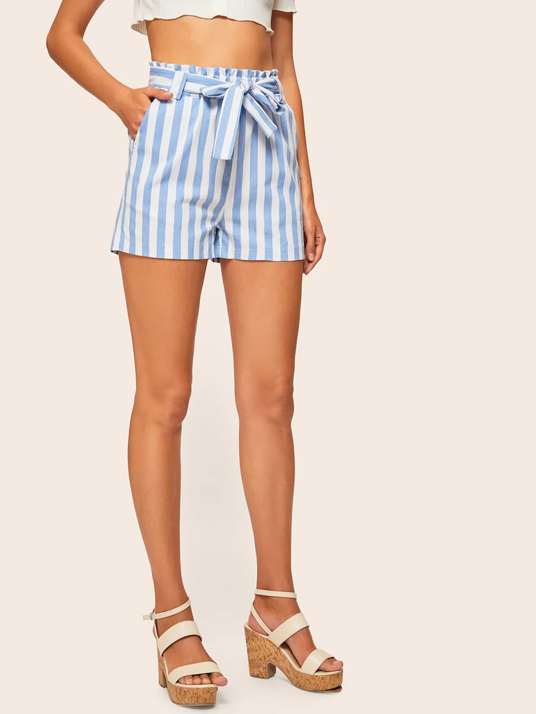 Slant Pocket Self Belted Striped Shorts