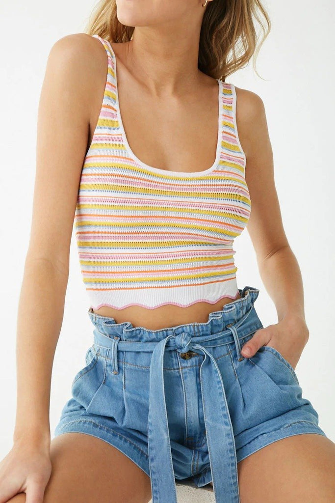Sleeveless Multicolor Striped Top
