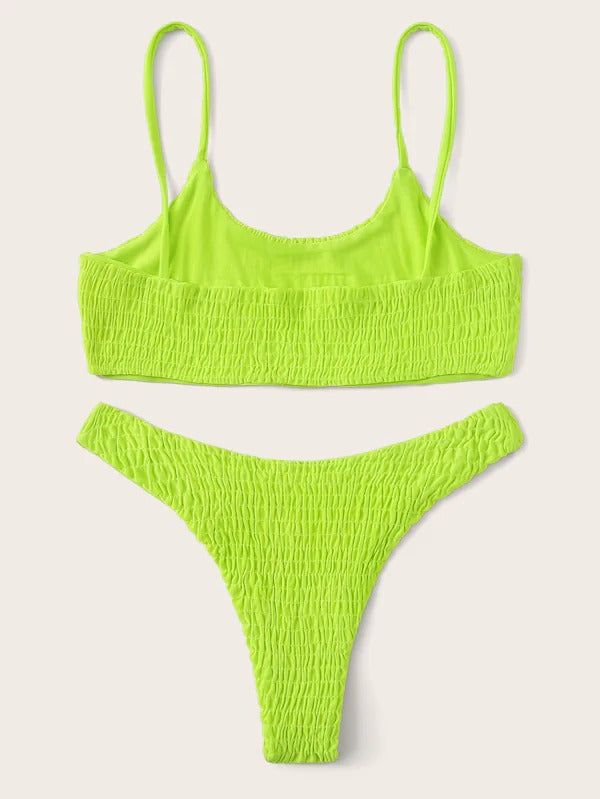 Smocked Spaghetti Strap Top With Low Rise Bikini