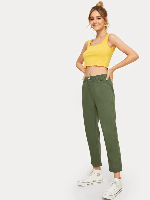 Solid Straight Leg Cropped Jeans