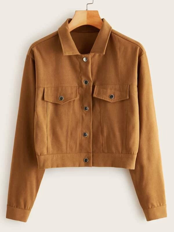 Solid Button Through Suede Jacket