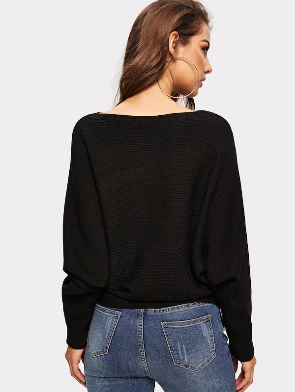 Solid Dolman Sleeve Sweater