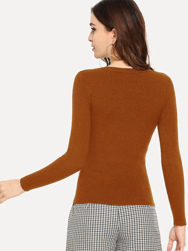 Solid Ribbed Skinny Jumper
