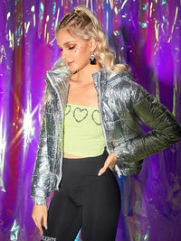 Sparkle Metallic Laser Puffer Jacket