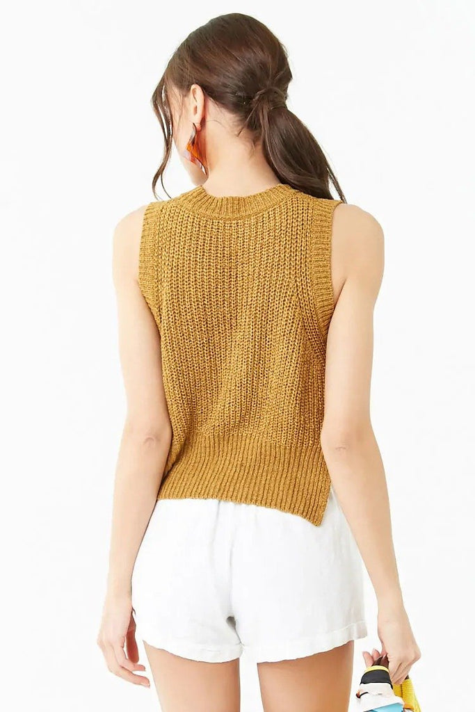 Split Sweater-Knit Tank Top