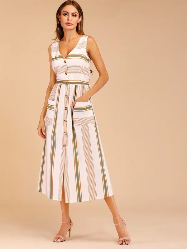 Striped Button Through Tie Back Dress