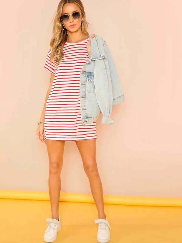 Striped Print T-Shirt Dress