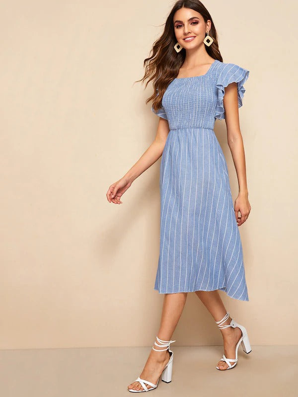 Striped Shirred Butterfly Sleeve Dress